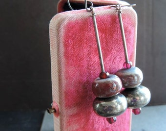 Dangle Drop Earrings with Gray and Muted Red Handmade Raku Beads Primitive Tribal Influence with a Vintage Twist
