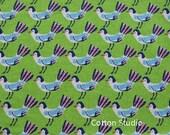En vente Hokkoh Tweet Tweet Kawaii oiseaux en tissu japonais vert pomme léger toile 1/2 Yard