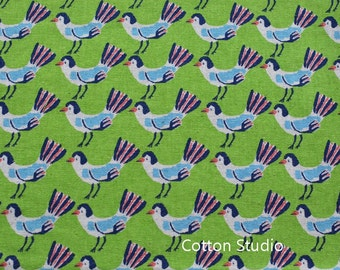 Hokkoh Tweet Tweet Kawaii Bird Japanese Fabric Apple Green Lightweight Canvas 1/2 Yard