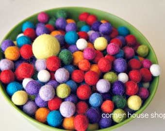 50 Multi Colored 1 cm Felt Balls