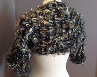 Hand knit shrug sweater or Sleevie - Artistic Fiber Knit short sleeve medium Shrug wears as a scarf, womens clothing