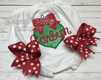 Christmas bloomers ~ Personalized Christmas diaper cover ~ newborn photo diaper cover ~ Newborn take home outfit ~ Christmas baby