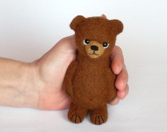 """Needle felted Brown Bear  5"""", Soft Sculpture Miniature, brown,  wool, OOAK, toy animal. MADE to ORDER"""