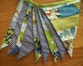 Party Bunting Scrappy Patchwork Pennant Flags Blue & Green
