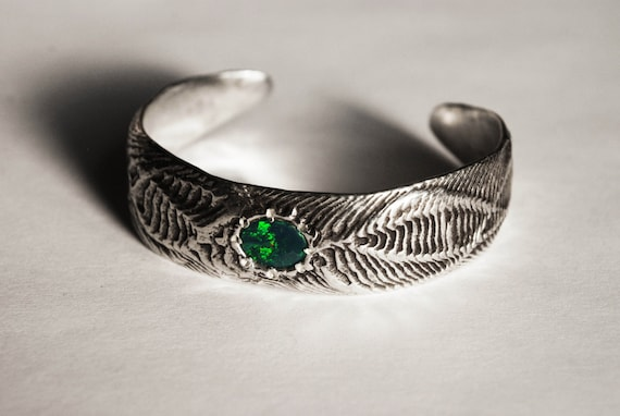 Opal and Solid Sterling Silver Dragon Cuff Bracelet