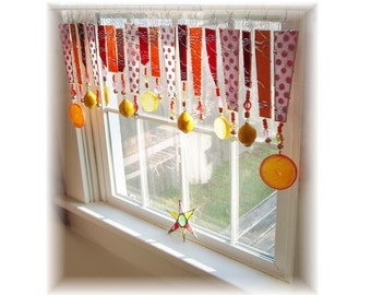 Fruit Juicy Pink Red Orange and Citrus Stained Glass Window Treatment Kitchen Valance Curtain