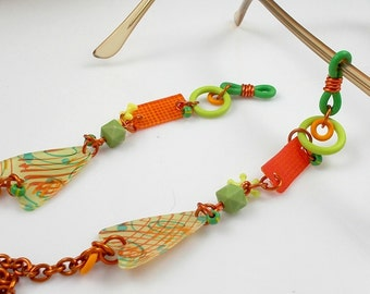 Eyeglass Chain, Lanyard, Sunglasses, OOAK, Handmade, Lime, Orange