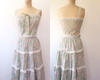 vintage sundress / floral sundress / Gathering Rosebuds blouse & skirt