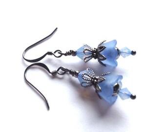 Lucite Flower Earrings, Crystal Swarvoski Earrings, Opal Blue Flower Earring, Vintage,Gunmetal Earring, Bridesmaid Earrings, My Julie Jewels