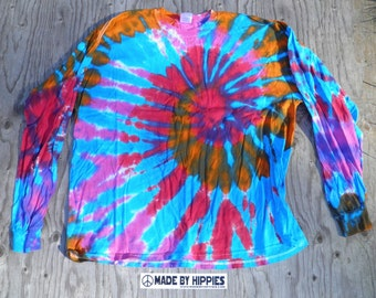 Pink, Red, Orange and Blue Spiral Tie Dye Longsleeve T-Shirt (Gildan Size 2XL) (One of a Kind)