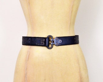 Vintage 80s Black Leather Belt Black Belt Grommet Belt Grommet Hole Belt Wide Belt Cinch Waist Belt 90s Belt 90s Grunge Belt XS Extra Small