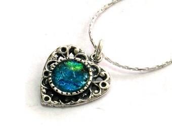 Roman Glass Heart Necklace, Silver Heart Necklace, Blue Heart Necklace, Women Gift, Boho Heart Necklace, Dangling Heart Charm