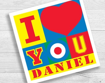Personalised I or We Love You Pop Art Card