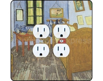 Vincent Van Gogh The Bedroom Painting Square Double Duplex Outlet Plate Cover