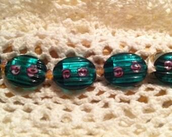 Green Lampwork Beads