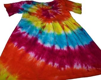 Sunshine Rainbow Spiral Tie Dyed Short Sleeve Infant/Toddler  Lap Shoulder Dress