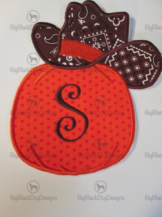 Iron On Applique -  Cowgirl Pumpkin with Hat and Monogram Initial