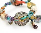 Rustic Glamour,  Artisan Ceramic, Raku, Bead bracelet, Woolywire