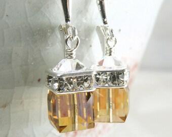 Yellow Topaz Crystal Earrings, Yellow Bridesmaid Earrings, Drop Swarovski Crystal Critine, Sterling Bridal Jewelry, November Birthstone