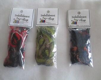 Yarn Embellishments - Licorice Black/Red or Caesar Salad Green or Dewberry Cobbler Blue/Rust