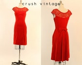 50s Red Velvet Dress XS / 1950s Lace Wiggle Dress / Candy Apple Frock