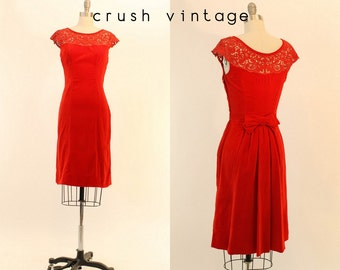 50s Dress Red Velvet XS / 1950s Vintage Lace Wiggle Dress / Candy Apple Frock