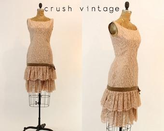 50s Dress Lace Wiggle XS / 1950s does 1920s Dress / She Loves You Dress