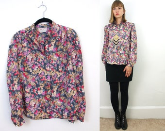 Vintage Floral Blouse // Evan-Picone Saks Fifth Avenue floral vintage button down up top XS/S // extra small silky secretary shirt