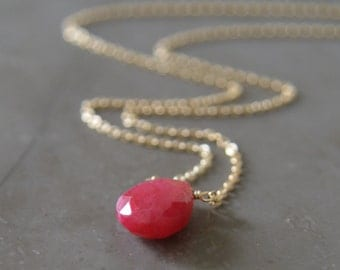 Ruby and Gold Necklace--July Birthstone