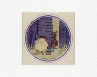 Vintage 1949 Father Hedgehog and Rat Discuss Fuzzypeg's Birthday