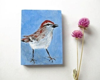 Miniature Sparrow Painting Original Bird Art Tiny Acrylic Fine Art on Wood ACEO mini art with easel modern backyard bird art for shelf decor