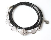 Sparkly Black Leather Wrap Bracelet / Womens Black Leather Bracelet / Noella