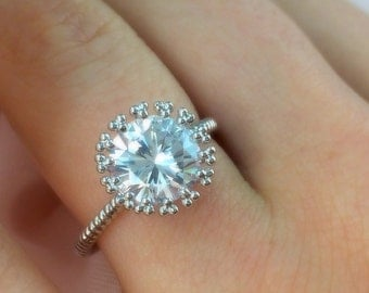 CZ Ring, Solitaire CZ Ring, Round Stone Ring
