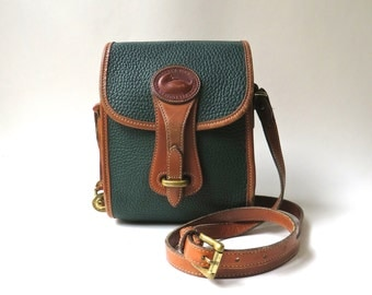 90s vintage Dooney and Bourke AWL Dark Green and British Tan North South Essex Bag