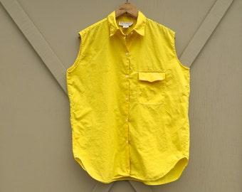 80s vintage Vibrant Yellow Sleeveless Collared Cotton Shirt / Gap Clothing Co.
