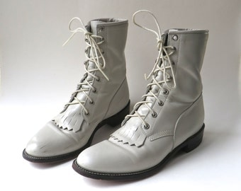 vintage Justin Light Grey Leather Roper Boots / Prairie Boots / Western Ankle Boots