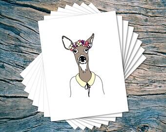 CLEARANCE SALE! - Spring Doe - set of 8 - A2 folded note cards & envelopes