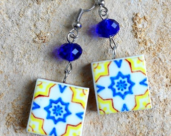 PORTUGAL Antique Tile Replica Earrings from OVAR - Yellow and Blue -waterproof and reversible 582