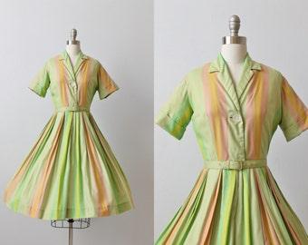 Vintage 1950s Dress / 50s Dress / Shirtwaist Dress / Cotton Dress / Stripes / Full Skirt / Salt Water Taffy