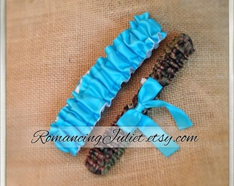 Simple Satin and Fully Reverseable Bridal Garter with BONUS Something Blue..You Choose The Colors..shown in camo/turquoise/white