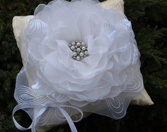 Wedding Pillow With White Colored Flower - Ring Bearer Pillow - Wedding Ring Pillow