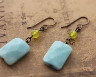 Natural, Oxidized, Vintaj Brass, Amazonite and Jade Natural Stone Earrings