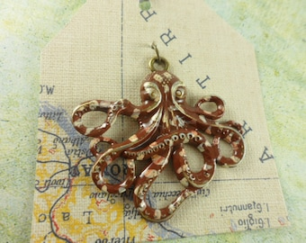 Octopus Pendant - Antique Brass - Hand Painted - Nautical - Sea Life - Spotted Brown - 63310