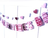 HAPPY VALENTiNES DAY Banner - gold glitter, pink, stripes, polka dots, hearts