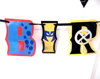 X Men Birthday Banner, Superhero Birthday Banner, Comic Book Birthday Banner, Custom Character Birthday Banner, HAPPY BIRTHDAY Banner