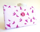 Pretty in Pink Tampon and Pad Holder in Pastel Pink Fucshia Sparrow Birds Handmade Privacy Wallet - Flight