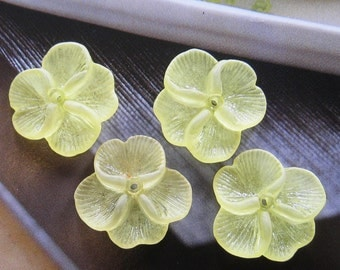 12 pcs 22mm - Frosted Pansy flower beads (FL005)