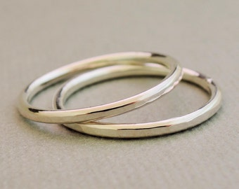 2 Sterling Silver Rings Thumb Ring Stacking Ring