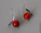 Sterling silver earrings,Red coral silver earrings ,earrings for women, silver coral earrings,coral necklace. Free  shipping