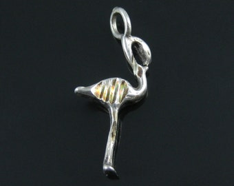 Charm, Sterling Silver, Flamingo, Bird, Etched Silver, Nature